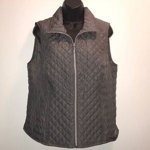 CHRISTOPHER & BANKS Gray Quilted Zip Vest~sz M~